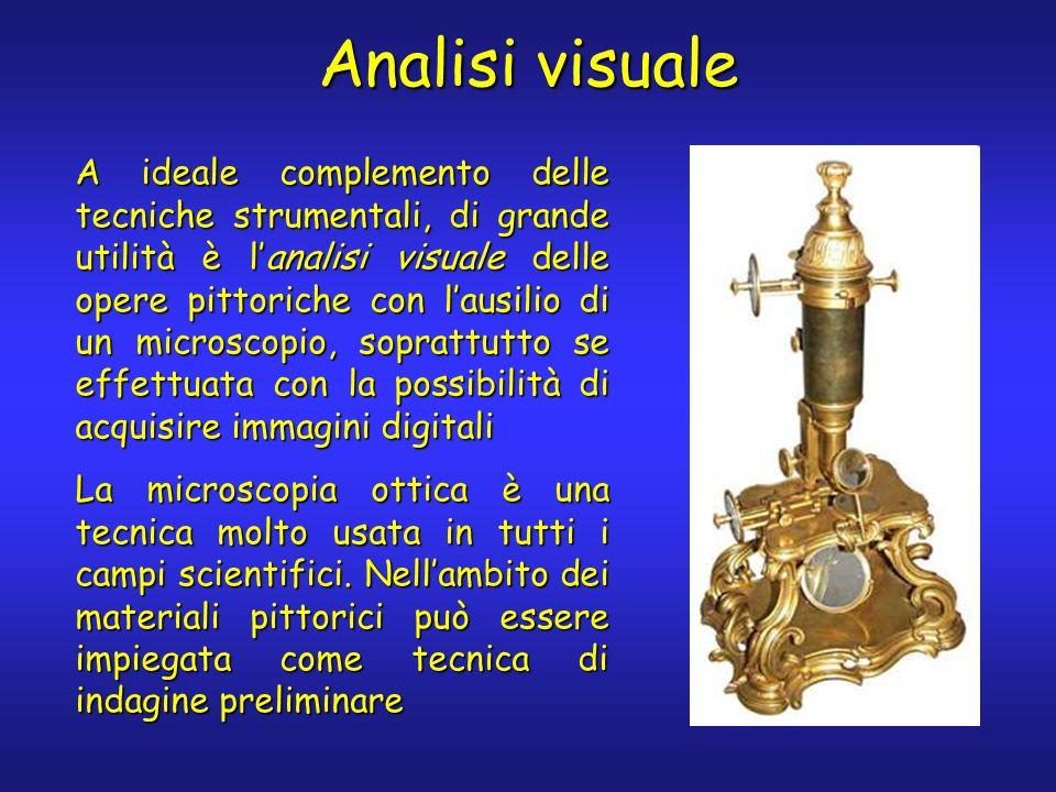 Analisi visuale A ideale complemento delle tecniche strumentali, di grande utilità è lanalisi visuale delle opere pittoriche con lausilio di un micros