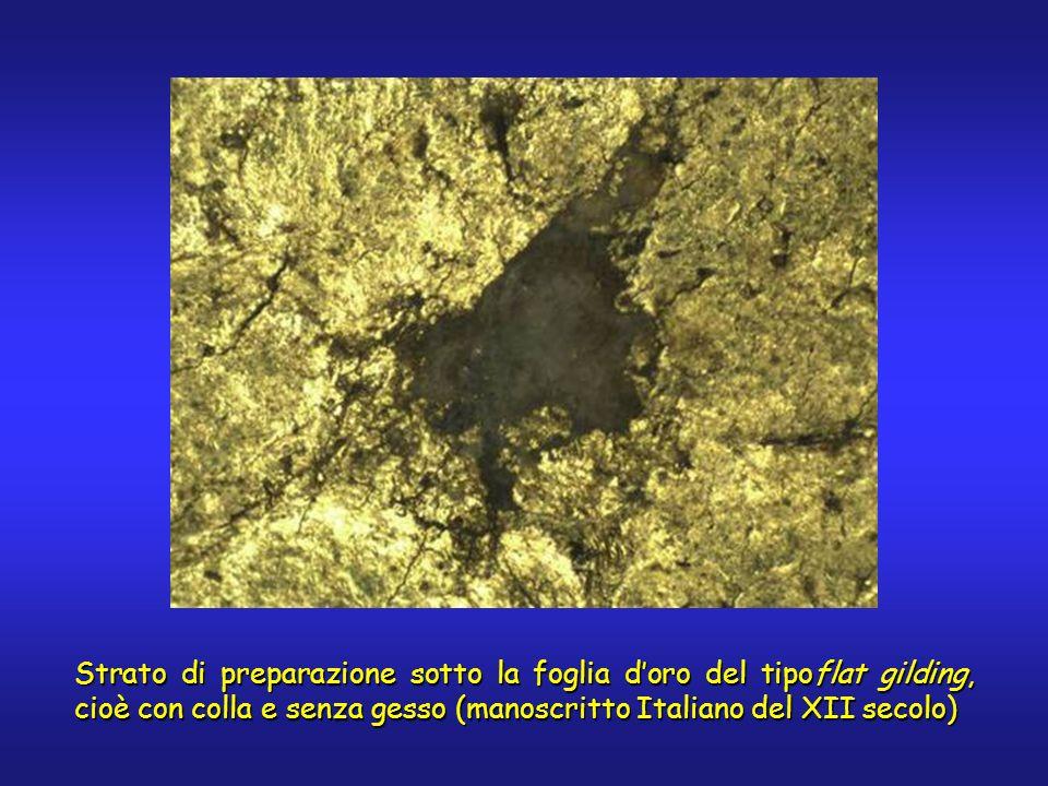 Strato di preparazione sotto la foglia doro del tipoflat gilding, cioè con colla e senza gesso (manoscritto Italiano del XII secolo)