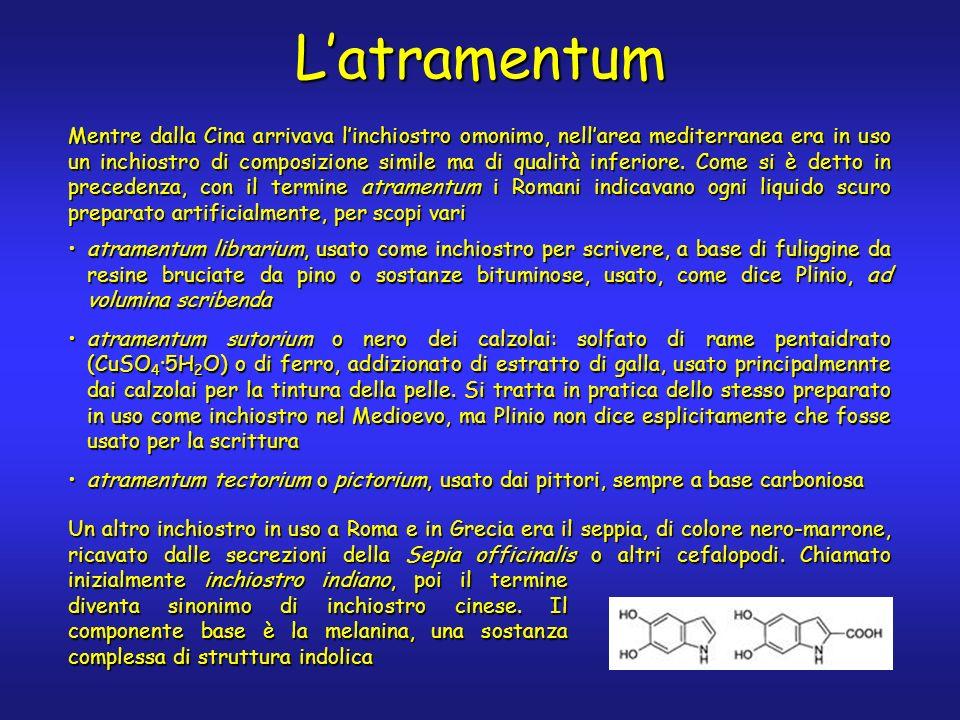 Latramentum Mentre dalla Cina arrivava linchiostro omonimo, nellarea mediterranea era in uso un inchiostro di composizione simile ma di qualità inferiore.