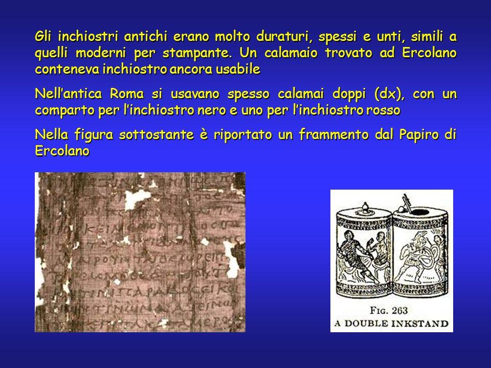 Gli inchiostri antichi erano molto duraturi, spessi e unti, simili a quelli moderni per stampante. Un calamaio trovato ad Ercolano conteneva inchiostr