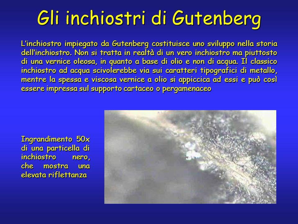 Gli inchiostri di Gutenberg Linchiostro impiegato da Gutenberg costituisce uno sviluppo nella storia dellinchiostro. Non si tratta in realtà di un ver