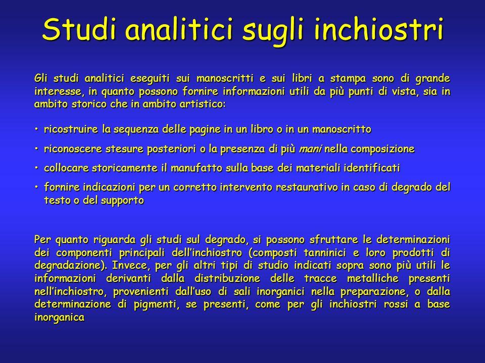 Studi analitici sugli inchiostri Gli studi analitici eseguiti sui manoscritti e sui libri a stampa sono di grande interesse, in quanto possono fornire