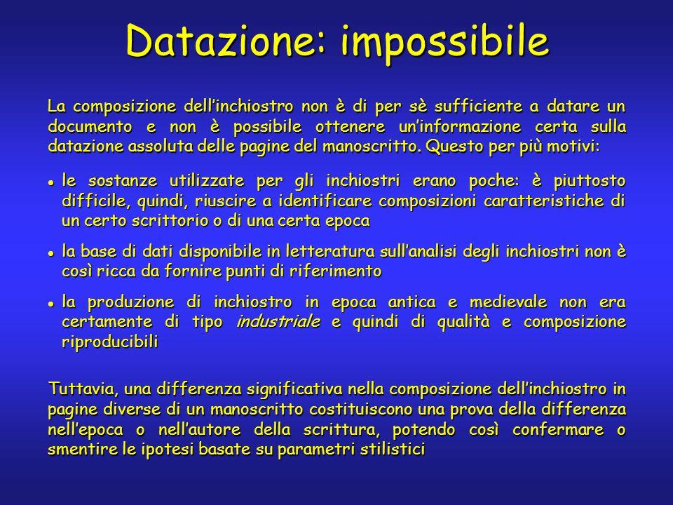 Datazione: impossibile La composizione dellinchiostro non è di per sè sufficiente a datare un documento e non è possibile ottenere uninformazione cert