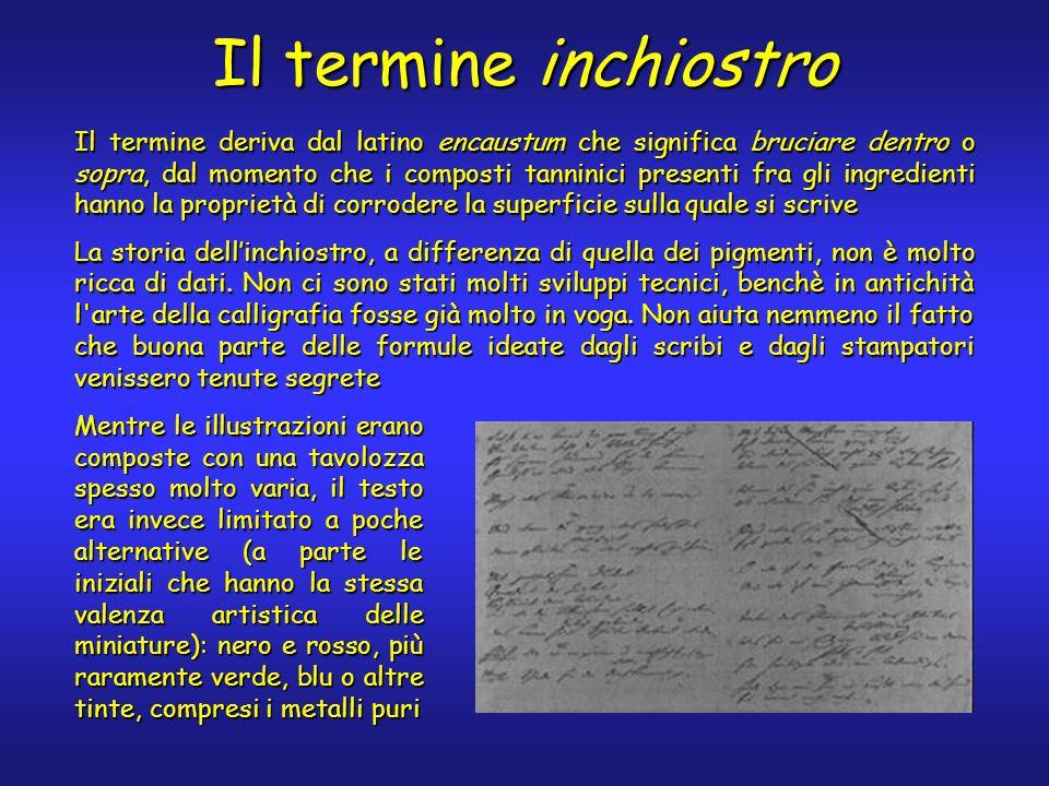 Il termine inchiostro Il termine deriva dal latino encaustum che significa bruciare dentro o sopra, dal momento che i composti tanninici presenti fra