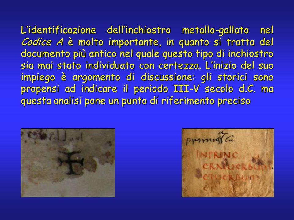 Lidentificazione dellinchiostro metallo-gallato nel Codice A è molto importante, in quanto si tratta del documento più antico nel quale questo tipo di inchiostro sia mai stato individuato con certezza.