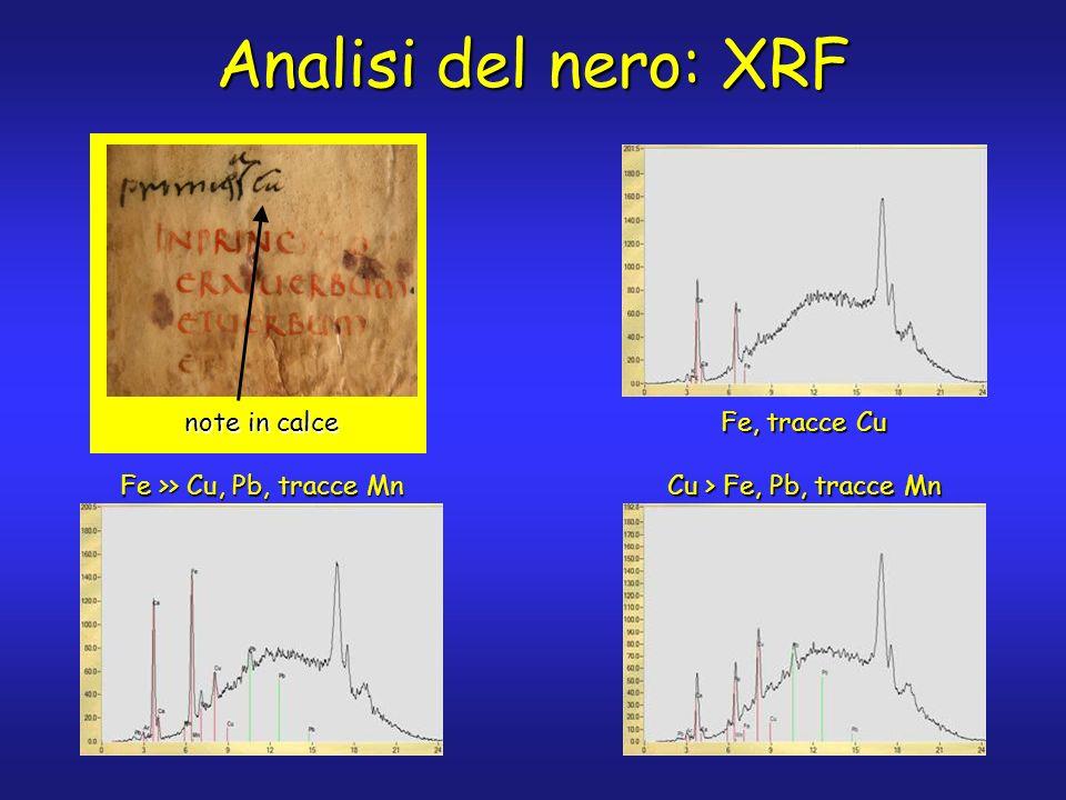 testo originale Analisi del nero: XRF Fe, tracce Cu Cu > Fe, Pb, tracce Mn Fe >> Cu, Pb, tracce Mn testo postumo note in calce