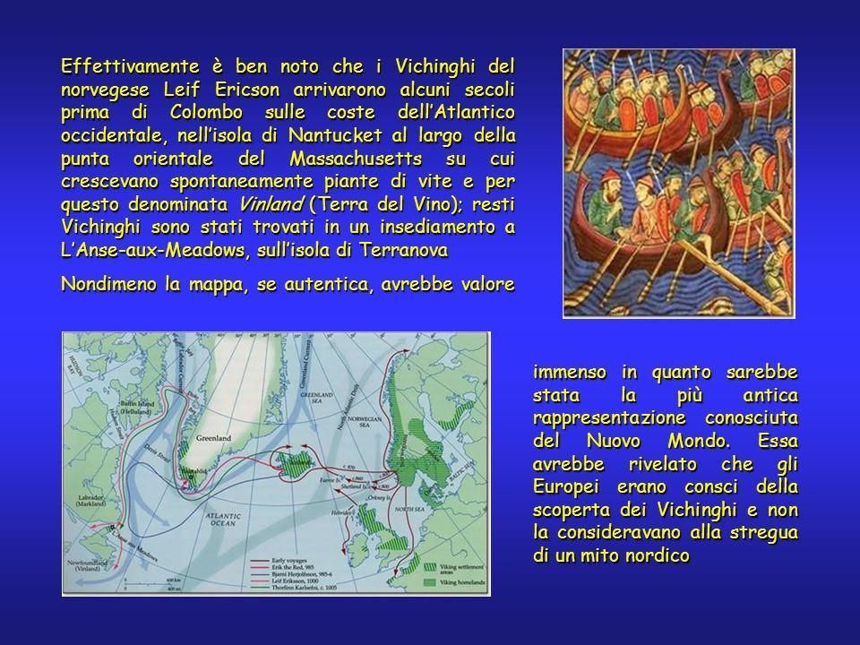 Effettivamente è ben noto che i Vichinghi del norvegese Leif Ericson arrivarono alcuni secoli prima di Colombo sulle coste dellAtlantico occidentale, nellisola di Nantucket al largo della punta orientale del Massachusetts su cui crescevano spontaneamente piante di vite e per questo denominata Vinland (Terra del Vino); resti Vichinghi sono stati trovati in un insediamento a LAnse-aux-Meadows, sullisola di Terranova Nondimeno la mappa, se autentica, avrebbe valore immenso in quanto sarebbe stata la più antica rappresentazione conosciuta del Nuovo Mondo.