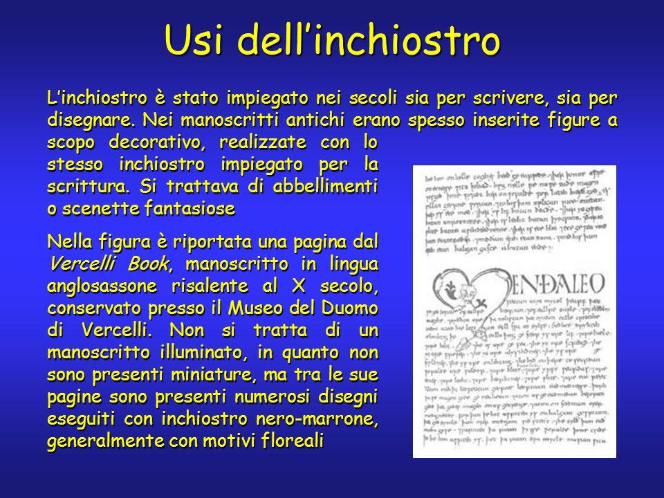 Usi dellinchiostro Linchiostro è stato impiegato nei secoli sia per scrivere, sia per disegnare.