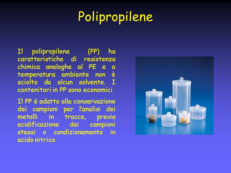 Polipropilene Il polipropilene (PP) ha caratteristiche di resistenza chimica analoghe al PE e a temperatura ambiente non è sciolto da alcun solvente.