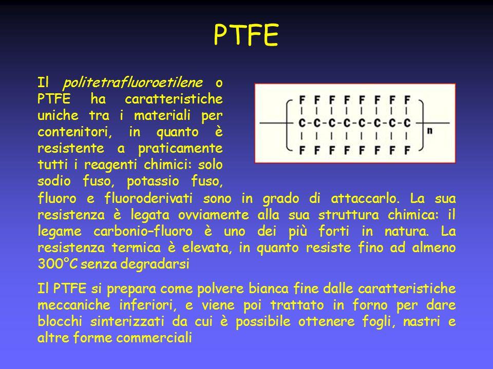 PTFE Il politetrafluoroetilene o PTFE ha caratteristiche uniche tra i materiali per contenitori, in quanto è resistente a praticamente tutti i reagenti chimici: solo sodio fuso, potassio fuso, fluoro e fluoroderivati sono in grado di attaccarlo.