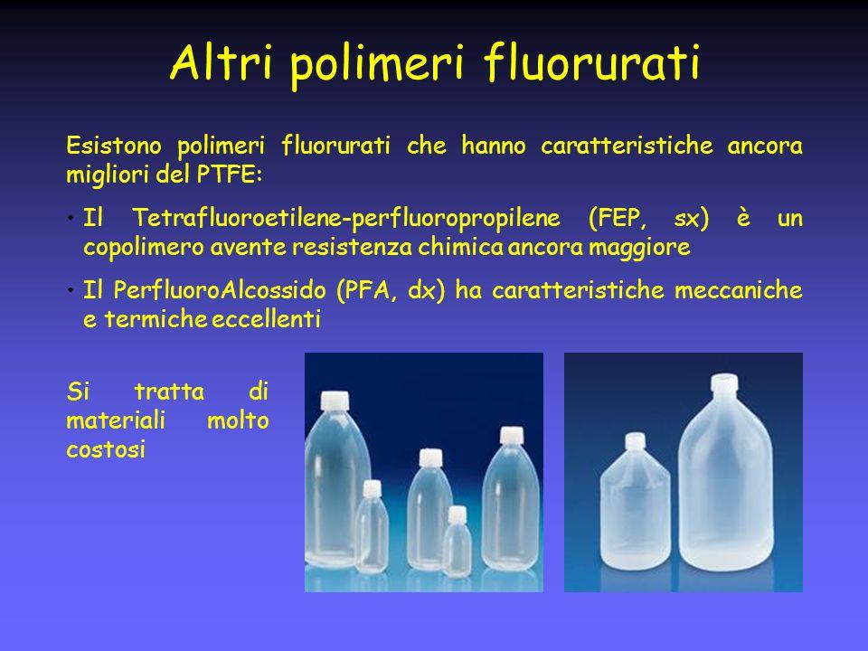 Altri polimeri fluorurati Esistono polimeri fluorurati che hanno caratteristiche ancora migliori del PTFE: Il Tetrafluoroetilene-perfluoropropilene (FEP, sx) è un copolimero avente resistenza chimica ancora maggiore Il PerfluoroAlcossido (PFA, dx) ha caratteristiche meccaniche e termiche eccellenti Si tratta di materiali molto costosi