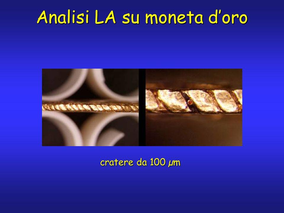 Analisi LA su moneta doro cratere da 100 µm