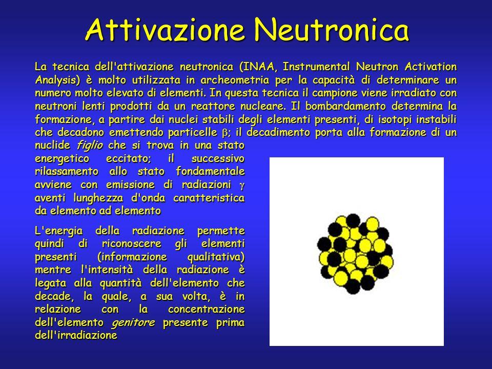 Attivazione Neutronica La tecnica dell attivazione neutronica (INAA, Instrumental Neutron Activation Analysis) è molto utilizzata in archeometria per la capacità di determinare un numero molto elevato di elementi.