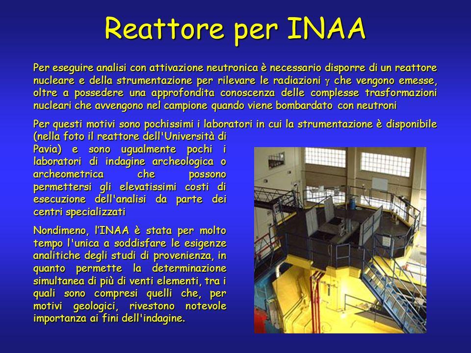 Reattore per INAA Per eseguire analisi con attivazione neutronica è necessario disporre di un reattore nucleare e della strumentazione per rilevare le radiazioni che vengono emesse, oltre a possedere una approfondita conoscenza delle complesse trasformazioni nucleari che avvengono nel campione quando viene bombardato con neutroni Per questi motivi sono pochissimi i laboratori in cui la strumentazione è disponibile (nella foto il reattore dell Università di Pavia) e sono ugualmente pochi i laboratori di indagine archeologica o archeometrica che possono permettersi gli elevatissimi costi di esecuzione dell analisi da parte dei centri specializzati Nondimeno, lINAA è stata per molto tempo l unica a soddisfare le esigenze analitiche degli studi di provenienza, in quanto permette la determinazione simultanea di più di venti elementi, tra i quali sono compresi quelli che, per motivi geologici, rivestono notevole importanza ai fini dell indagine.