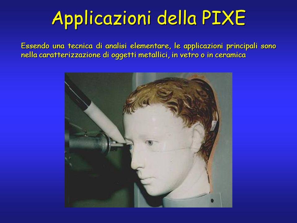 Applicazioni della PIXE Essendo una tecnica di analisi elementare, le applicazioni principali sono nella caratterizzazione di oggetti metallici, in vetro o in ceramica