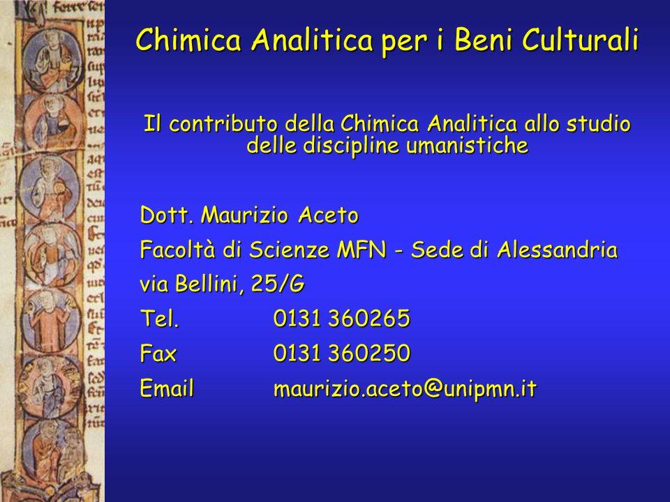 Chimica Analitica per i Beni Culturali Il contributo della Chimica Analitica allo studio delle discipline umanistiche Dott. Maurizio Aceto Facoltà di