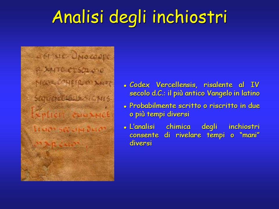 Analisi degli inchiostri Codex Vercellensis, risalente al IV secolo d.C.: il più antico Vangelo in latino Codex Vercellensis, risalente al IV secolo d