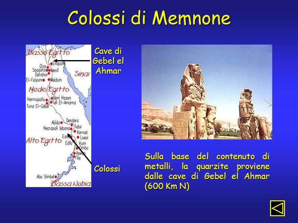 Colossi di Memnone Cave di Gebel el Ahmar Colossi Sulla base del contenuto di metalli, la quarzite proviene dalle cave di Gebel el Ahmar (600 Km N)
