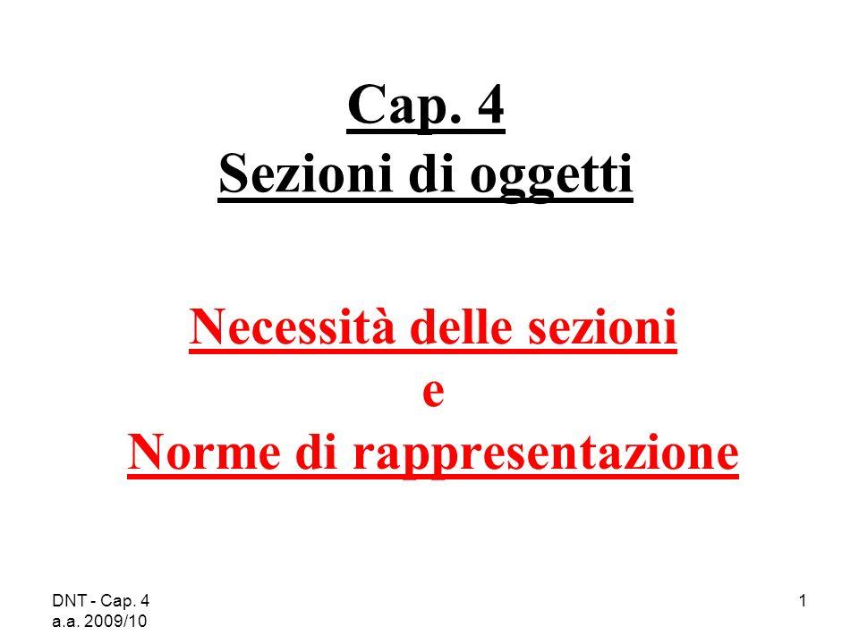 DNT - Cap. 4 a.a. 2009/10 1 Cap. 4 Sezioni di oggetti Necessità delle sezioni e Norme di rappresentazione