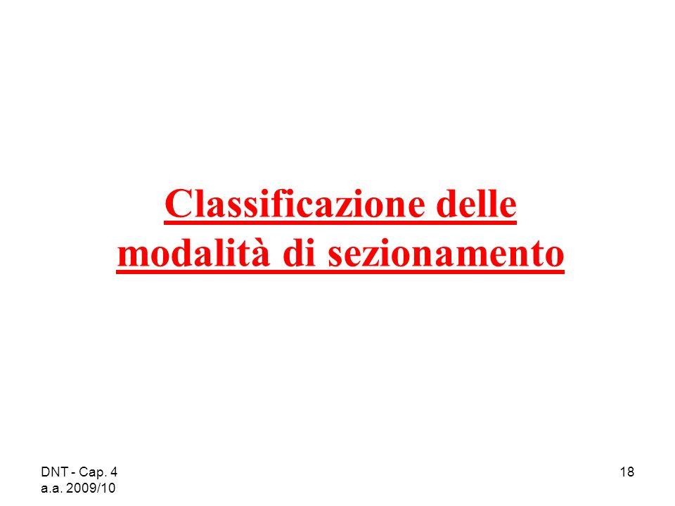DNT - Cap. 4 a.a. 2009/10 18 Classificazione delle modalità di sezionamento