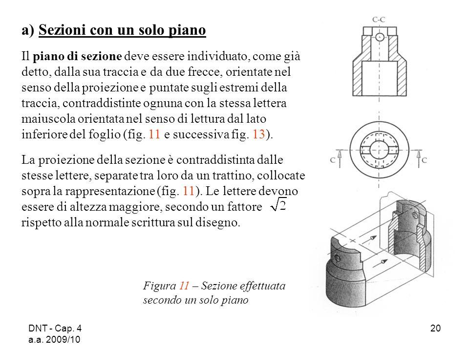 DNT - Cap. 4 a.a. 2009/10 20 a) Sezioni con un solo piano Il piano di sezione deve essere individuato, come già detto, dalla sua traccia e da due frec