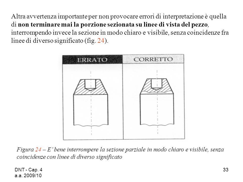 DNT - Cap. 4 a.a. 2009/10 33 Figura 24 – E bene interrompere la sezione parziale in modo chiaro e visibile, senza coincidenze con linee di diverso sig