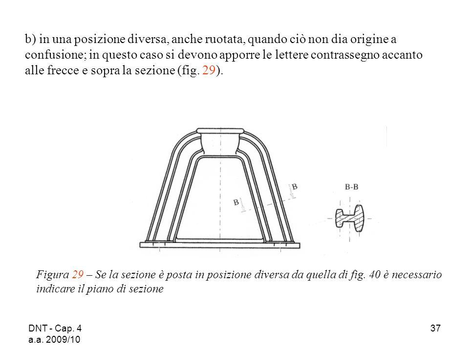 DNT - Cap. 4 a.a. 2009/10 37 Figura 29 – Se la sezione è posta in posizione diversa da quella di fig. 40 è necessario indicare il piano di sezione b)