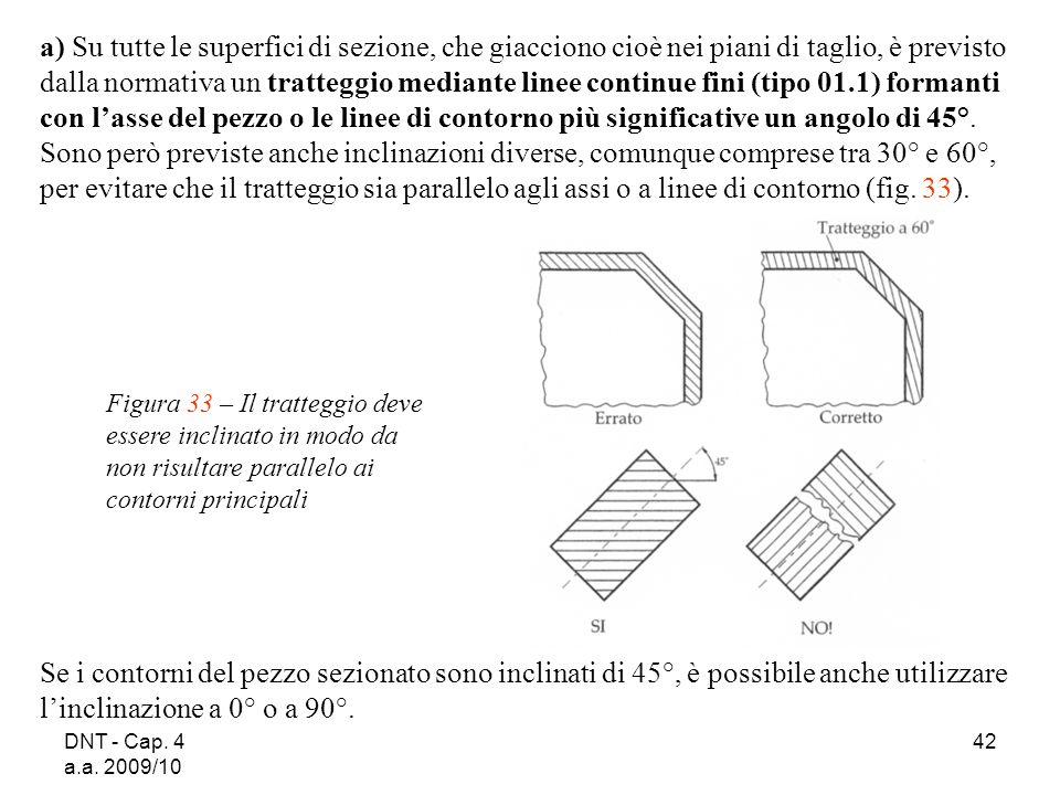 DNT - Cap. 4 a.a. 2009/10 42 a) Su tutte le superfici di sezione, che giacciono cioè nei piani di taglio, è previsto dalla normativa un tratteggio med