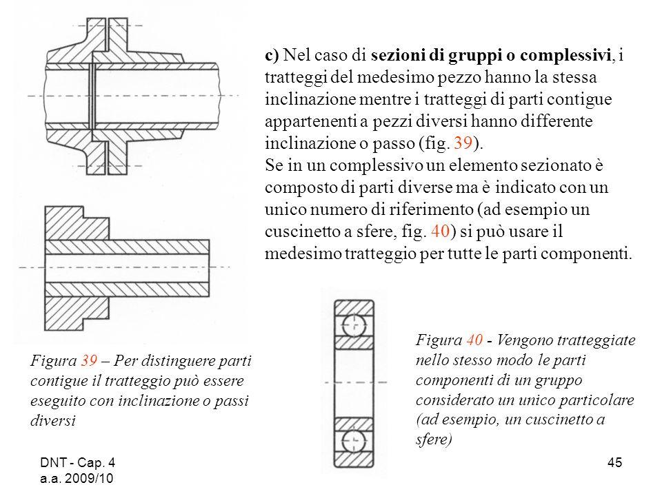 DNT - Cap. 4 a.a. 2009/10 45 c) Nel caso di sezioni di gruppi o complessivi, i tratteggi del medesimo pezzo hanno la stessa inclinazione mentre i trat