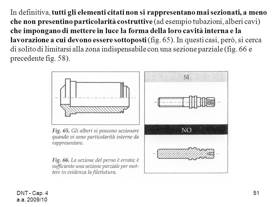 DNT - Cap. 4 a.a. 2009/10 51 In definitiva, tutti gli elementi citati non si rappresentano mai sezionati, a meno che non presentino particolarità cost