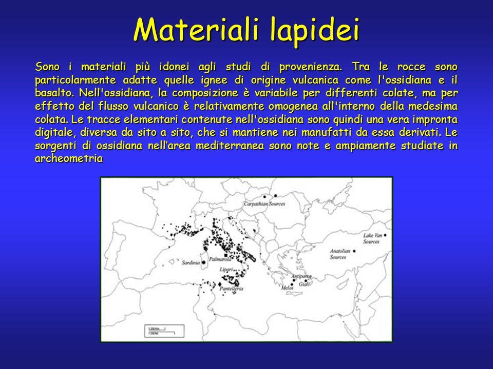Materiali lapidei Sono i materiali più idonei agli studi di provenienza.