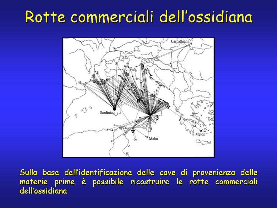 Rotte commerciali dellossidiana Sulla base dellidentificazione delle cave di provenienza delle materie prime è possibile ricostruire le rotte commerciali dellossidiana