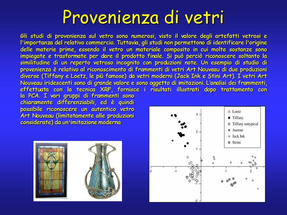 Gli studi di provenienza sul vetro sono numerosi, visto il valore degli artefatti vetrosi e l importanza del relativo commercio.