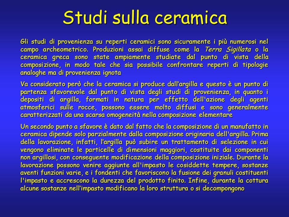 Studi sulla ceramica Gli studi di provenienza su reperti ceramici sono sicuramente i più numerosi nel campo archeometrico.