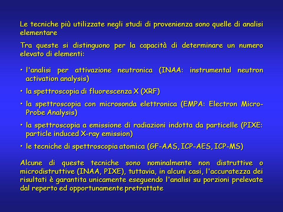 l analisi per attivazione neutronica (INAA: instrumental neutron activation analysis)l analisi per attivazione neutronica (INAA: instrumental neutron activation analysis) la spettroscopia di fluorescenza X (XRF)la spettroscopia di fluorescenza X (XRF) la spettroscopia con microsonda elettronica (EMPA: Electron Micro- Probe Analysis)la spettroscopia con microsonda elettronica (EMPA: Electron Micro- Probe Analysis) la spettroscopia a emissione di radiazioni indotta da particelle (PIXE: particle induced X-ray emission)la spettroscopia a emissione di radiazioni indotta da particelle (PIXE: particle induced X-ray emission) le tecniche di spettroscopia atomica (GF-AAS, ICP-AES, ICP-MS)le tecniche di spettroscopia atomica (GF-AAS, ICP-AES, ICP-MS) Alcune di queste tecniche sono nominalmente non distruttive o microdistruttive (INAA, PIXE), tuttavia, in alcuni casi, l accuratezza dei risultati è garantita unicamente eseguendo l analisi su porzioni prelevate dal reperto ed opportunamente pretrattate Le tecniche più utilizzate negli studi di provenienza sono quelle di analisi elementare Tra queste si distinguono per la capacità di determinare un numero elevato di elementi: