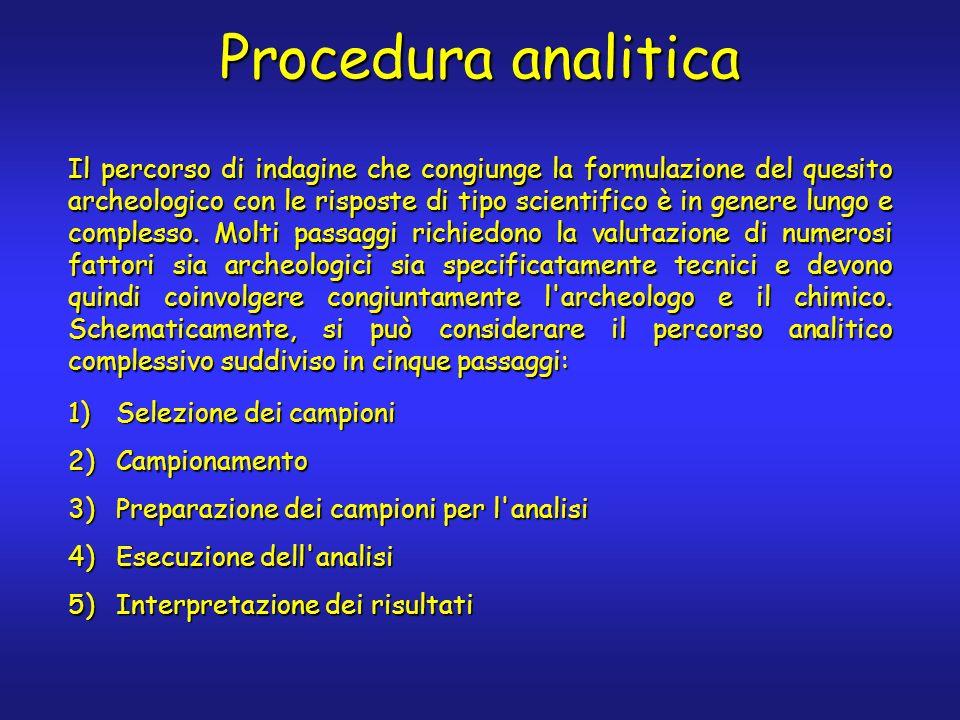Procedura analitica Il percorso di indagine che congiunge la formulazione del quesito archeologico con le risposte di tipo scientifico è in genere lungo e complesso.