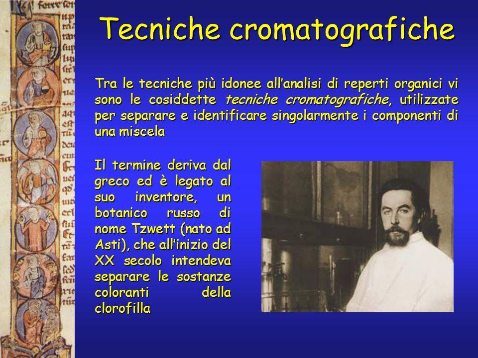 Tecniche cromatografiche Tra le tecniche più idonee allanalisi di reperti organici vi sono le cosiddette tecniche cromatografiche, utilizzate per sepa