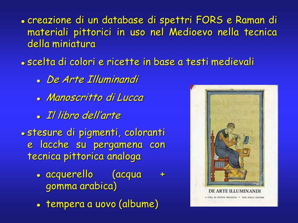 creazione di un database di spettri FORS e Raman di materiali pittorici in uso nel Medioevo nella tecnica della miniatura creazione di un database di