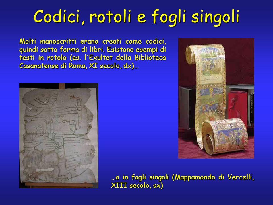 Codici, rotoli e fogli singoli …o in fogli singoli (Mappamondo di Vercelli, XIII secolo, sx) Molti manoscritti erano creati come codici, quindi sotto forma di libri.