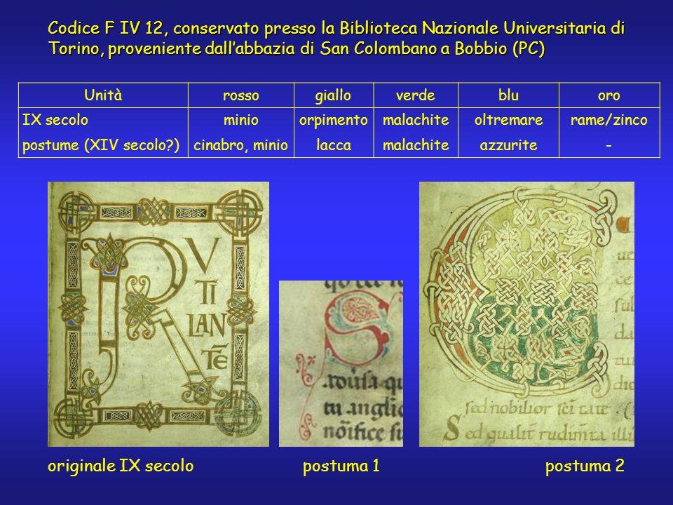 Unitàrossogialloverdebluoro IX secolominioorpimentomalachiteoltremarerame/zinco postume (XIV secolo?)cinabro, miniolaccamalachiteazzurite- originale I