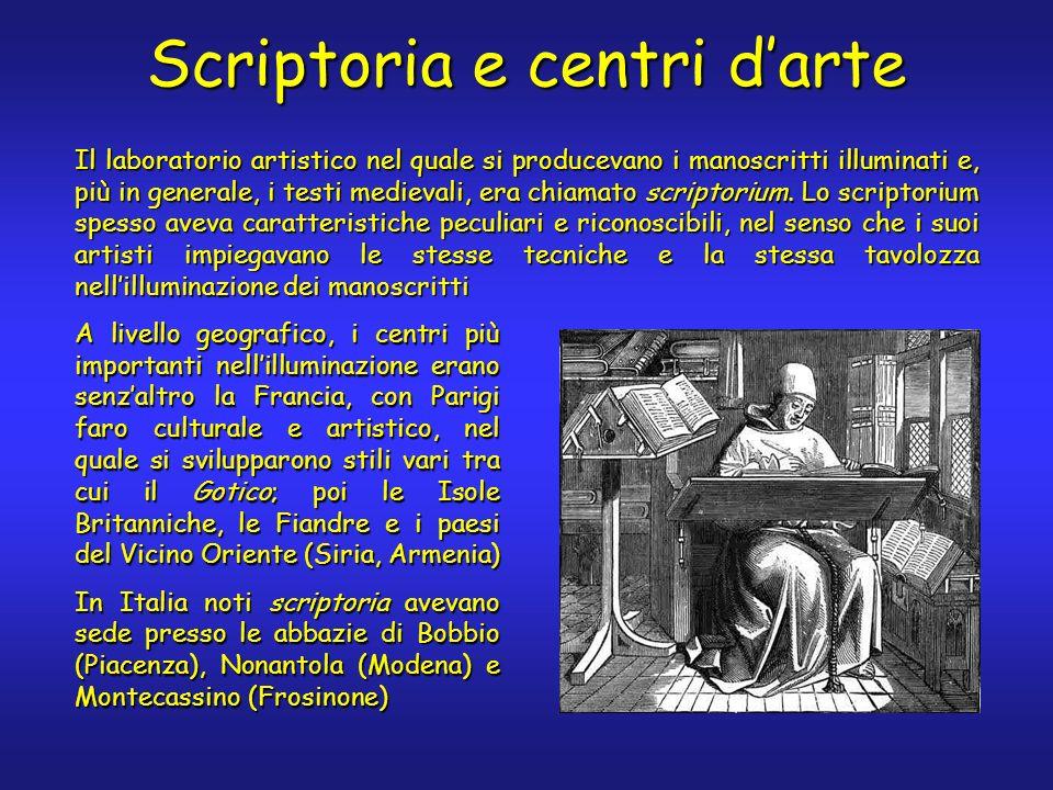 Scriptoria e centri darte Il laboratorio artistico nel quale si producevano i manoscritti illuminati e, più in generale, i testi medievali, era chiamato scriptorium.