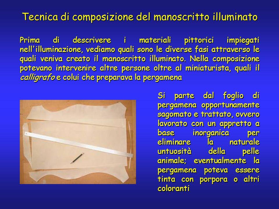 Tecnica di composizione del manoscritto illuminato Prima di descrivere i materiali pittorici impiegati nell'illuminazione, vediamo quali sono le diver