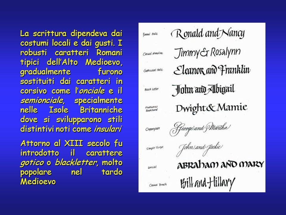 La scrittura dipendeva dai costumi locali e dai gusti. I robusti caratteri Romani tipici dellAlto Medioevo, gradualmente furono sostituiti dai caratte