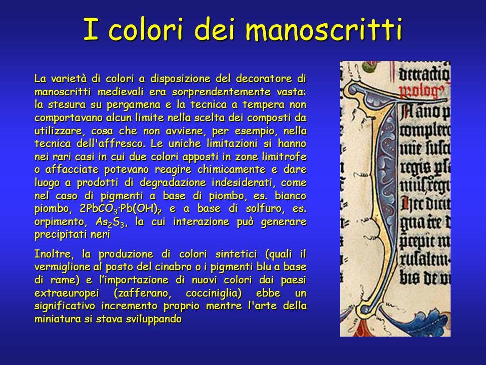 I colori dei manoscritti La varietà di colori a disposizione del decoratore di manoscritti medievali era sorprendentemente vasta: la stesura su pergam