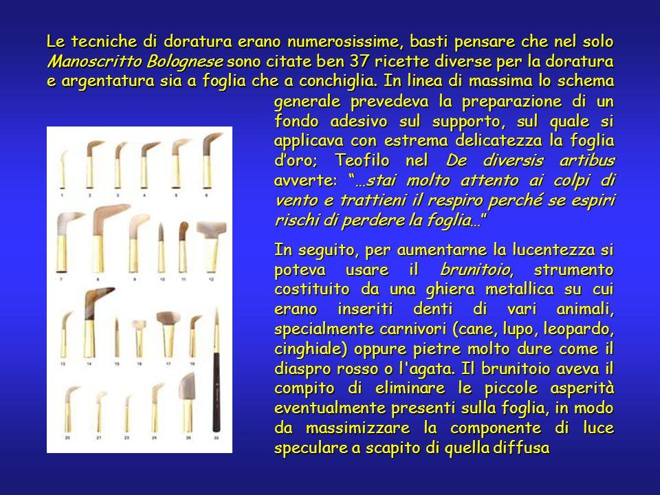 Le tecniche di doratura erano numerosissime, basti pensare che nel solo Manoscritto Bolognese sono citate ben 37 ricette diverse per la doratura e argentatura sia a foglia che a conchiglia.