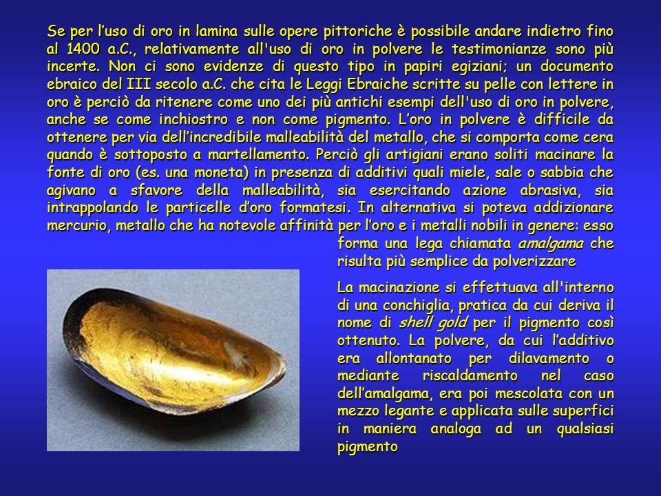 Se per luso di oro in lamina sulle opere pittoriche è possibile andare indietro fino al 1400 a.C., relativamente all uso di oro in polvere le testimonianze sono più incerte.