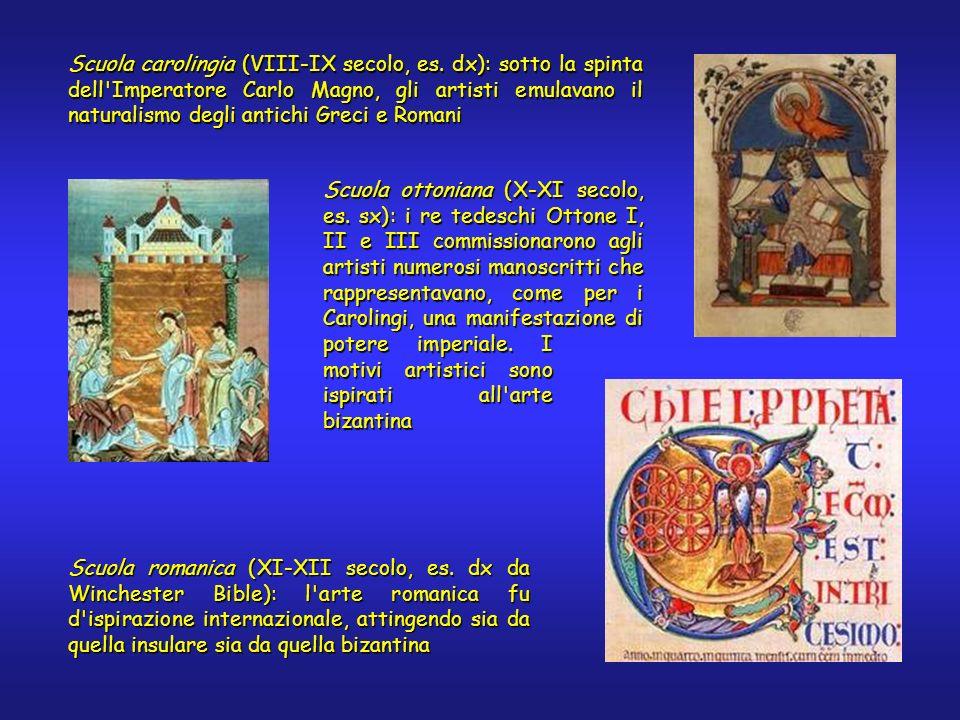 Scuola romanica (XI-XII secolo, es. dx da Winchester Bible): l'arte romanica fu d'ispirazione internazionale, attingendo sia da quella insulare sia da