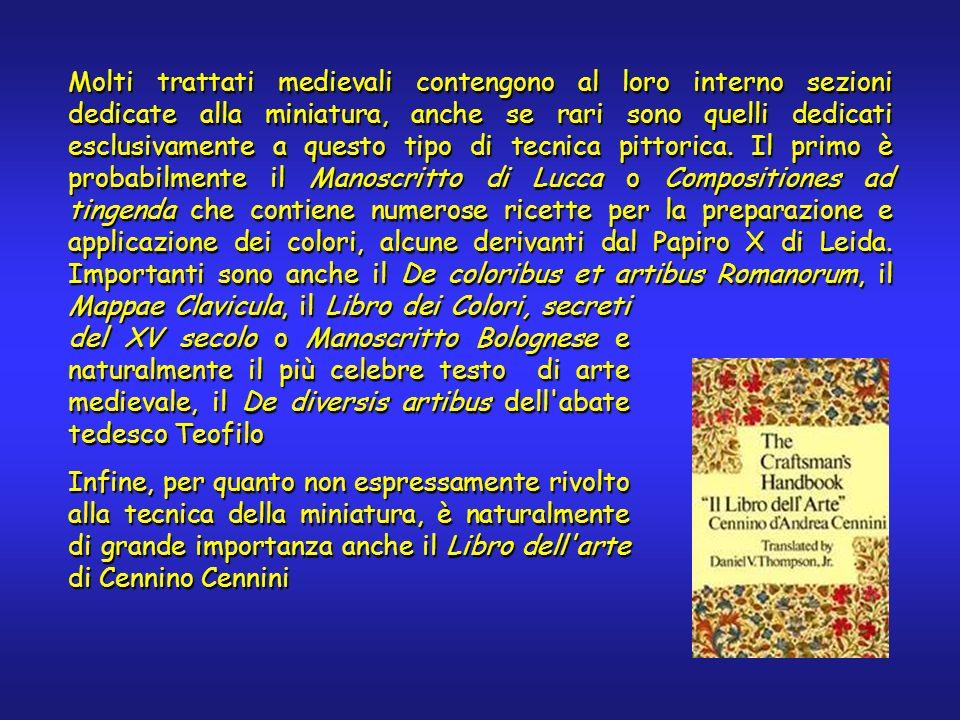 Esempio: tavolozza di un manoscritto italiano del XV secolo ColorePigmentoFORSXRFRaman Bianco Bianco Piombo (biacca) -PbX Blu Blu oltremare su azzurrite XCuX AzzurriteX Cu, Ba X Blu di ftalocianina su bianco titanio X Cu, Ti X Giallo Oro in foglia -Au- Oro in polvere -Au- Oro musivo (porporina) - Sn, S X Giallolino tipo I X Pb, Sn X Grigio Argento su oro - Ag, Au - NeroCarbone--X RossoCinabroX Hg, S X MinioXPbX VerdeMalachiteX Cu, Zn X Viola Lacca (?) con biacca -Pb-