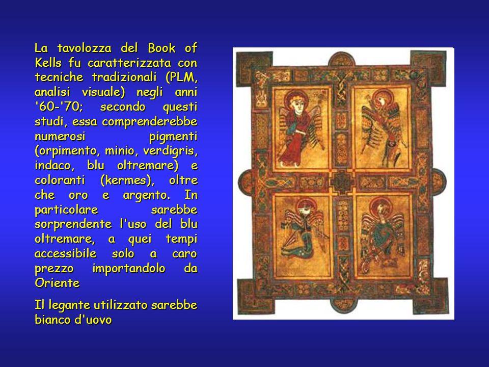 La tavolozza del Book of Kells fu caratterizzata con tecniche tradizionali (PLM, analisi visuale) negli anni '60-'70; secondo questi studi, essa compr