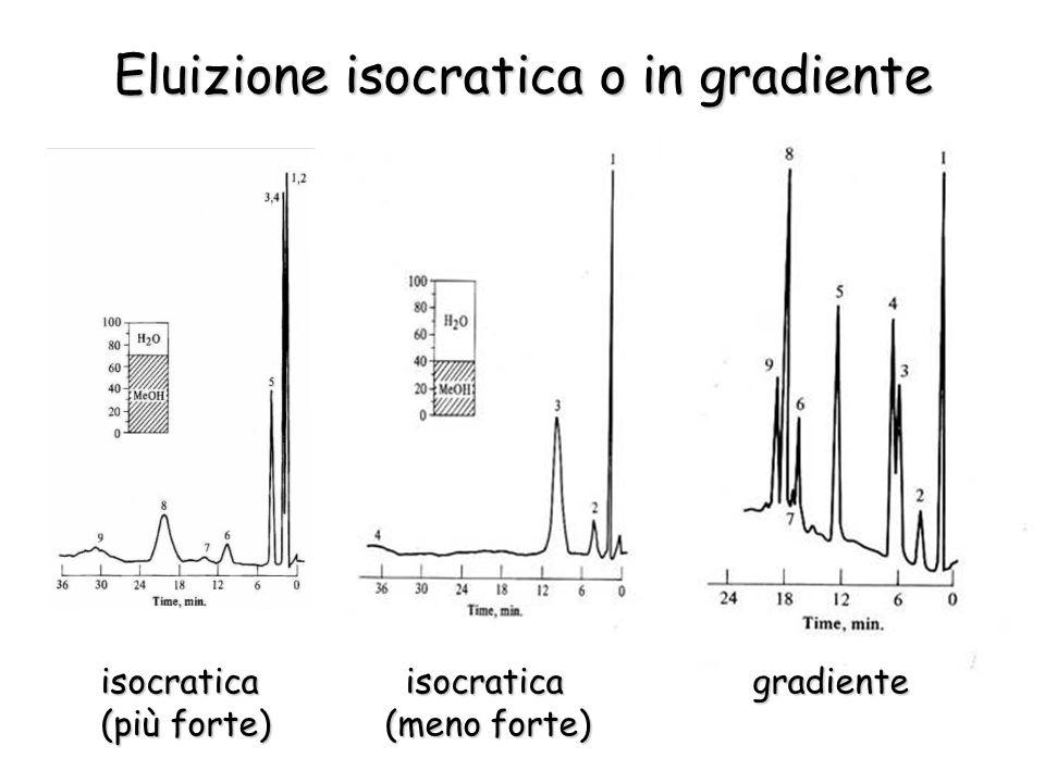 Eluizione isocratica o in gradiente isocratica isocratica gradiente isocratica isocratica gradiente (più forte) (meno forte) (più forte) (meno forte)